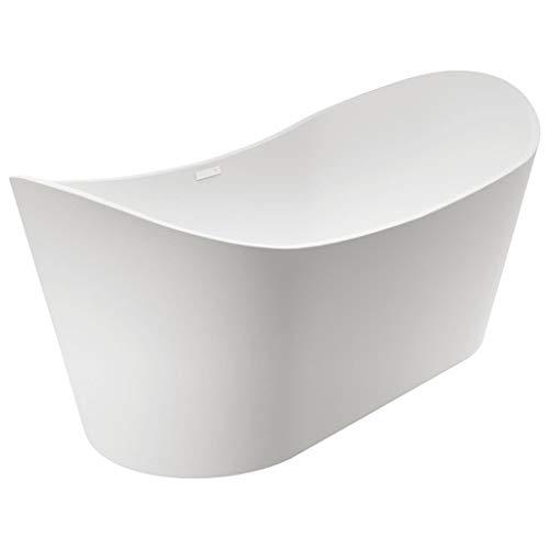 vidaXL Freistehende Badewanne ohne Standbatterie Acrylwanne Wanne Bad Badezimmer Standbadewanne Acryl-Badewanne Weiß Acryl 204L 166,5x80x73cm