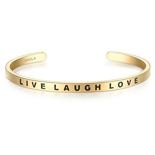 Nahla Damen-Armreif Live Laugh Love Edelstahl gelbvergoldet ca. 16-21 cm - Arm-Spange kombinierbar Damen-Schmuck mit Spruch Lebe Liebe Lache