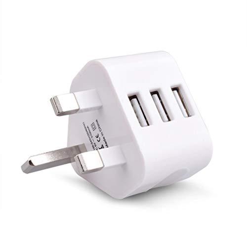 RHNE UK Mains Wall Adaptador de Enchufe de 3 Pines Cargador de Corriente con Puertos USB para teléfonos Blanco UK Plug Three USB