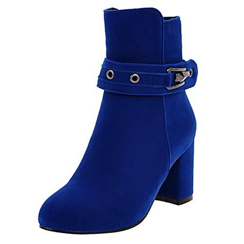 LUXMAX Damen Chunky Heels Ankle Boots Stiefeletten mit Reißverschluss Blockabsatz Schuhe(Königsblau 37)