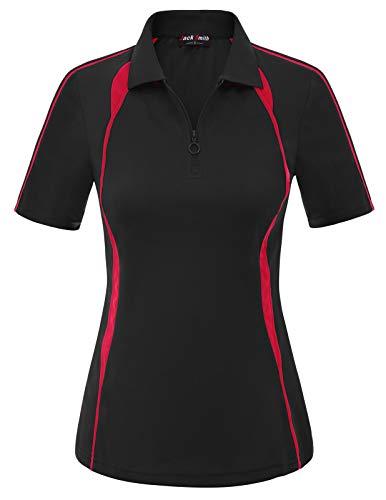 Womens Lapel Collar Zip-up Polos Tops Sports Golf Shirt (M,Black #23)