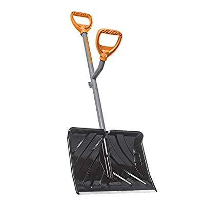 ErgieShovel ERG-SNSH18 18-Inch Impact Resistant Blade Push/Scoop Combination Snow Shovel, Orange