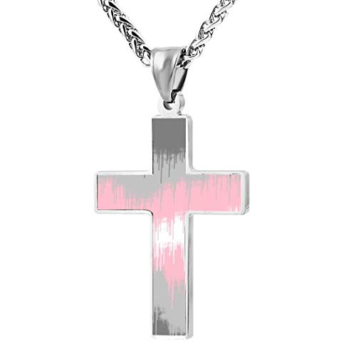 BlingDi Fashion Design Demigirl Flag Drips Zinc Alloy Religious Cross Pendant Necklace