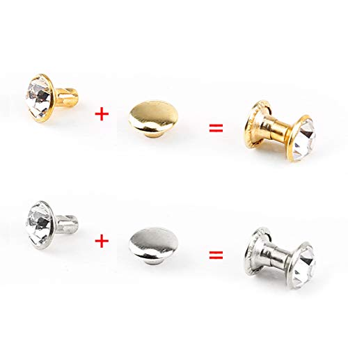 200 Stück Silber/Gold Strassnieten Crystal Nieten 7mm Ziernieten Schmucknieten Hohlnieten Kleidung Leder Tasche Gürtel Nähen Deko Nieten SurePromise Metall DIY Rivets