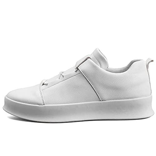 JUST ALONE Zapatos Casuales de Cuero para Hombre, Zapatillas de Moda para Hombre, Zapatos, Zapatillas, Zapatos Planos cómodos (Color : Blanco, Size : EU 42)