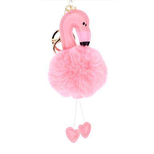 LIOOBO Porte-clés mignon flamant rose porte-clés boule de fourrure pom pom porte-clé pour sac pendentif clé de voiture de téléphone portable