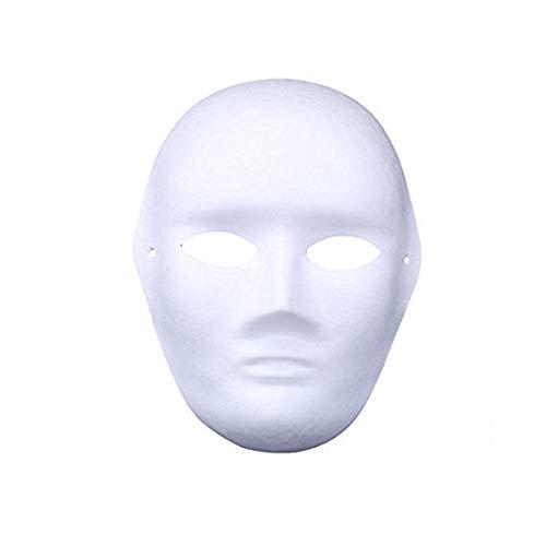 meioro DIY Weißes Papier Maske Zellstoff Blank Handgemalte Maske Persönlichkeit Kreative Freie Design Maske(10 Stück,Männer)