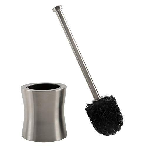 Bath Bliss Hour Glass Shape Weighted Bottom Toilet Brush & Holder Set, Heavy Duty Brush, Silver