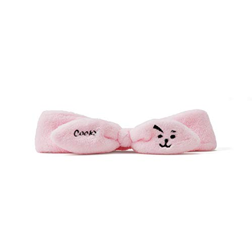 BT21 COOKY Character Soft Spa Face Makeup Headband Hair Band for Women and Girls, Pink