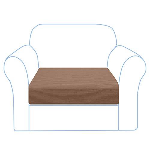 Granbest Funda de cojín para sofá de alta elasticidad, a rayas, jacquard, spandex, lavable a máquina (1 plaza, camel)