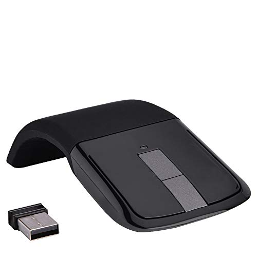 Bewinner Mouse Touch Wireless Pieghevole, Mouse ergonomici Pieghevoli fotoelettrici da 1000 DPI con Ricevitore USB per PC Notebook Smart TV(Nero)