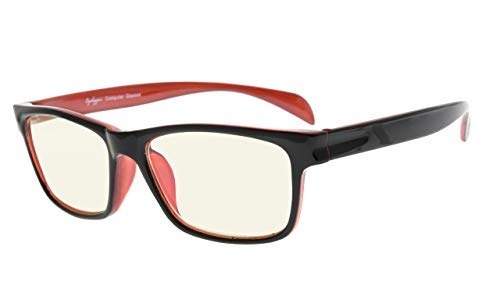 Eyekepper Filtro de luz UV (UV400) protección contra la fatiga gafas de ordenador anti luz azul bloqueo de memoria marco de flexión, amarillo lentes teñidos (Negro Rojo,+2.50)
