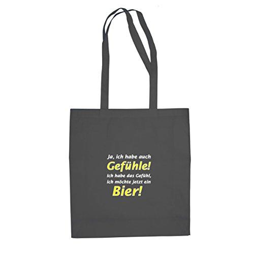 Planet Nerd Bier Gefühl - Stofftasche/Beutel, Farbe: grau