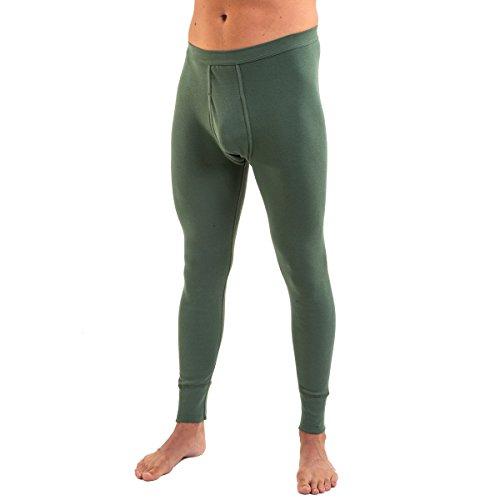 HERMKO 3540 Herren Lange Unterhosen mit Eingriff und Weichbund aus 100% Baumwolle in Feinripp, Größe:D 6 = EU L, Farbe:Olive