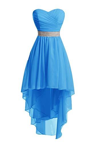 JAEDEN Ballkleider Damen Brautjungfernkleid Hochzeit Partykleid Herzausschnitt Abendkleid Vorne Kurz Hinten Lang Blau EUR36