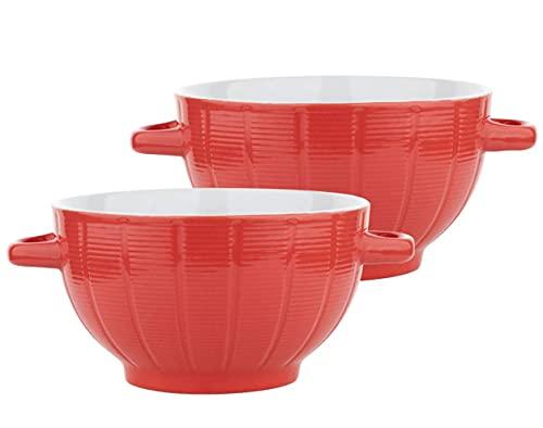 Van Well Dabar - Juego de 2 tazones para sopa, color rojo