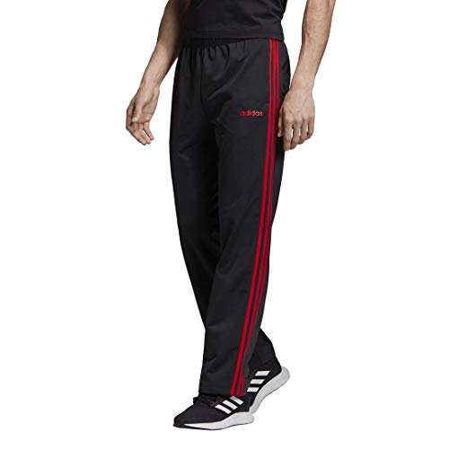 adidas Herren Essentials 3-Streifen Regular Tricot Pants Black/Scarlet, Medium