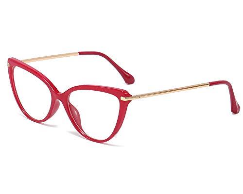YOFASEN Gafas Unisex Anti-Azul, Gafas De Sol Duraderas Y Que No Se Deforman, Gafas Planas De Venta Libre Con Montura Fina Y Grande,Rojo
