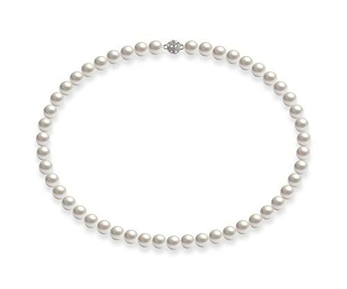 Schmuckwilli Südsee Tahiti Damen Muschelkernperlen Perlenkette Weiß Magnetverschluß echte Muschel 45CM dmk0017-45 (8mm)