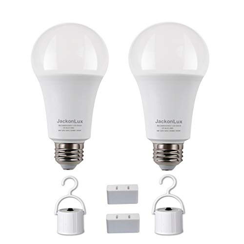 Rechargeable Emergency LED Bulb JackonLux Multi-Function Battery Backup Emergency Light for Power Outage Camping Outdoor Activity Hurricane 9W 850LM 60W Equivalent Daylight 5000K E26 120 Volt 2 Pack