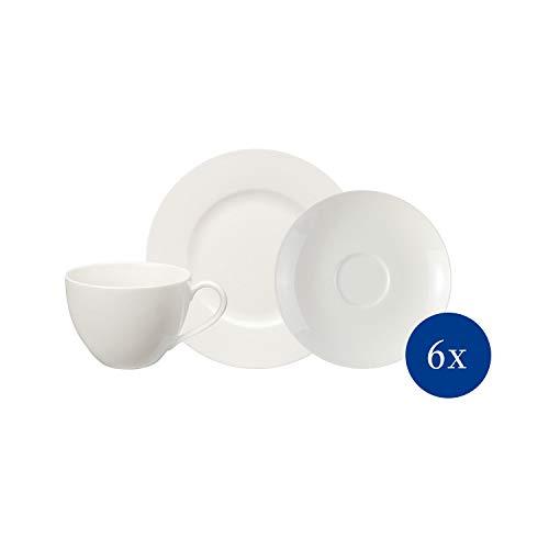 vivo by Villeroy & Boch Group - Basic White Kaffeeservice, 18 tlg. Basisset für die Kaffeetafel, Premium Porzellan, weiß, spülmaschinenfest