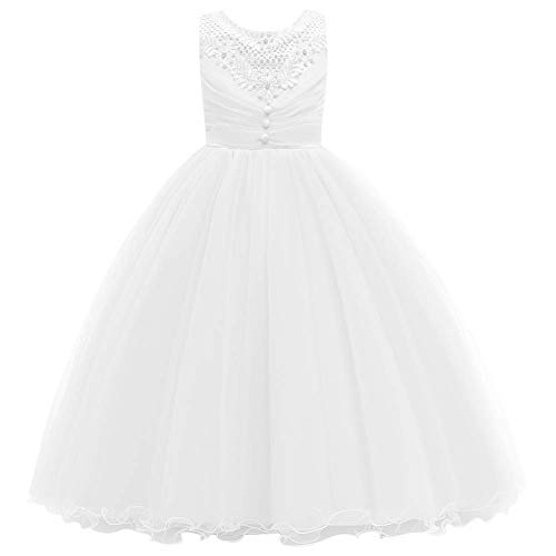 Vestido de princesa longo para meninas grandes da IBTOM CASTLE, Branco, 8-9 anos