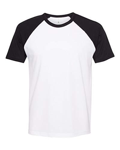 Next Level Men's Raglan Short-Sleeve T-Shirt, Black/ White, Large