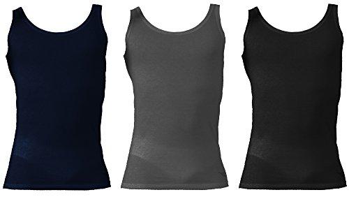 Diadora 3 Canotte Spalla Larga Uomo Puro Cotone DIARORA Underwear Art. 6069 (5/L, Blu/Nero/Grigio)