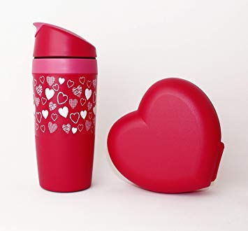 Tupperware Trinkbecher Coffee to GO Herzmotiv 350ml + Herzdose Lunchbox Valentinstag