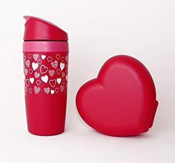 Tupperware Trinkbecher Coffee to GO Herzmotiv 350ml + Herzdose Lunchbox Valentinstag