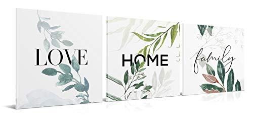 Cuadros de Love Home Family - Pack 3 de 30 x 30 cm - Decoración Moderna para Salón y Dormitorio - Lienzo de Poliéster y Bastidor de Madera, LEN-001