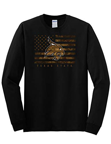 J2 Sport TXST Texas State University Bobcats NCAA Unisex US Camo Flag Long Sleeve T-Shirt