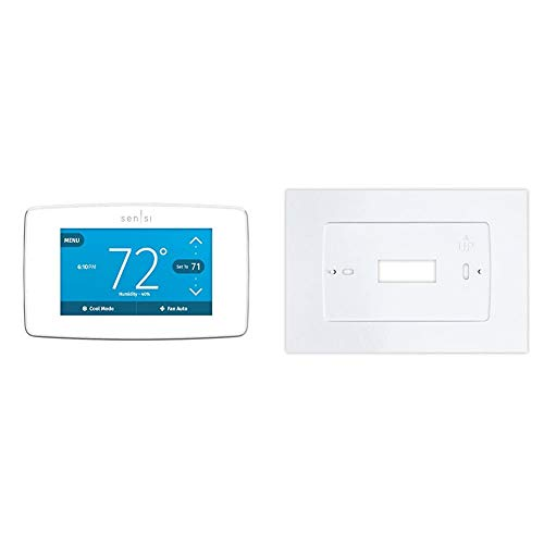 Emerson Sensi Touch Wi-Fi Smart Thermostat with Touchscreen Color Display, Works with Alexa, Energy Star Certified, C-wire Required, ST75W & Wall Plate for Sensi Touch Wi-Fi Thermostat, White