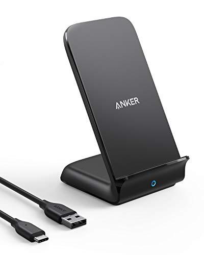 Cargador inalámbrico Anker 15 W máx. con USB-C, soporte PowerWave 7.5, carga rápida Qi certificada para iPhone 12/12 Mini/12 Pro Max/SE/11/11 Pro/11 Pro Max, Galaxy S20/S10 y más (sin adaptador de CA)