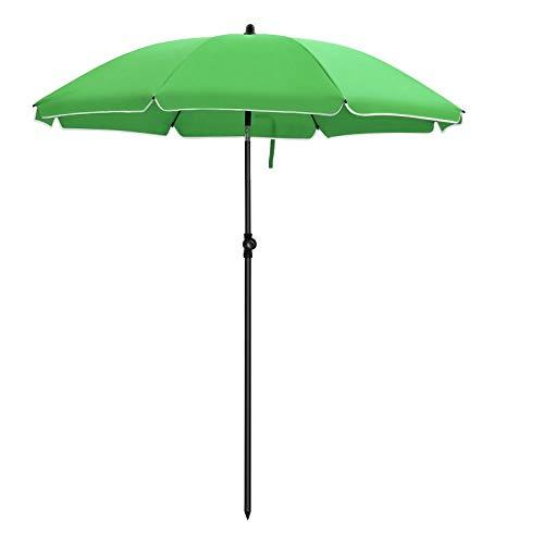 SONGMICS Sonnenschirm, Ø 160 cm, Marktschirm, UV Schutz UPF 50+, Sonnenschutz, achteckiger Gartenschirm aus Polyester, Schirmrippen aus Glasfaser, mit Tragetasche, Grün GPU60GN