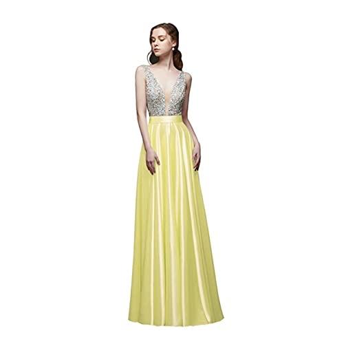 TDIDOJQ Abito da Sera Senza Schienale con Scollo a V Collo a V Perline A-Line Beaded Crystal Bodice PartyFormal Prom Gown (Color : Yellow, US Size : 14)