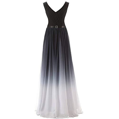 ZLDDE Frauen Formale Chiffon Abendkleid Bandage Gradient Maxikleid Formale Abendkleider Schwarz Weiß