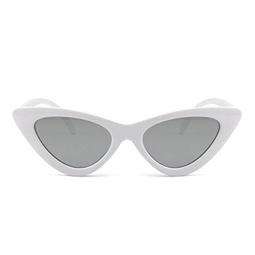 JM Gafas de Sol Retro Ojos de Gato Clout Goggles Lentes Lindos Plásticos Teñido Anteojos Mujer(Blanco/Plateado)
