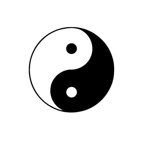 Sticker Yin Yang - 55 x 55cm - Noir