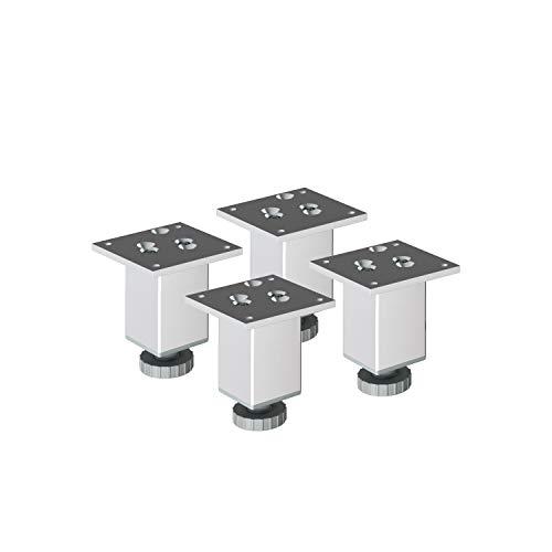 """Aluminium Möbelfüße Sossai\""""Exklusiv\"""" E4MF-H   4er Set   höhenverstellbar   Höhe: 100mm (+20mm)   Farbe: Aluminium"""