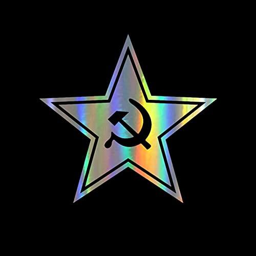 2 SZTUK Naklejki Samochodowe Winyl 15.7 * 15 CM Star Sierp Sierp i młotek Kreskówki Naklejki na Samochodem Śmieszne 3D Naklejki Motocykl Naklejki Car Styling (Color Name : Laser, Size : 2Pcs)
