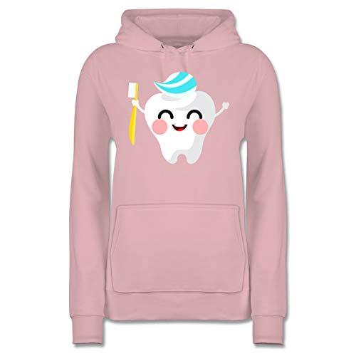 Karneval & Fasching - Zahnfee mit Zahnpasta - L - Hellrosa - Verkleidung Kostüm - JH001F - Damen Hoodie und Kapuzenpullover für Frauen