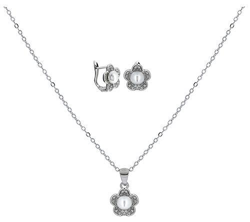ENTREPLATA Juego Plata de Ley 925 Primera Comunion Conjunto Collar Colgante Pendientes Circonita Perla Regalo Original Niña Joven Mujer (Modelo 5)
