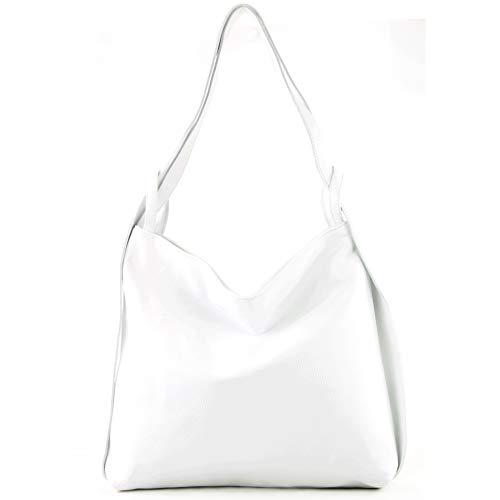 modamoda de - T192 - ital. Damen Rucksacktasche 2in1 aus Leder, Farbe:Weiß