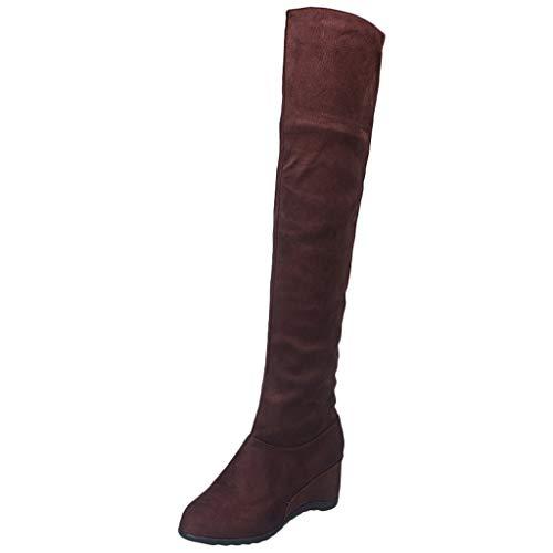 Xuthuly Hohe Stiefel Frauen Herbst Winter Mode sexy schlank über das Knie elastische Stiefel Damen Klassische keil Flock hohe Stiefel