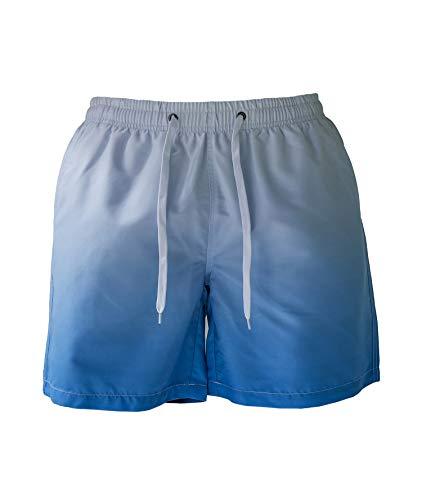 YENYEE Herren Badehose, schnell trocknend, Strandshorts mit Netzfutter, Farbverlauf Blau - Blau - Large