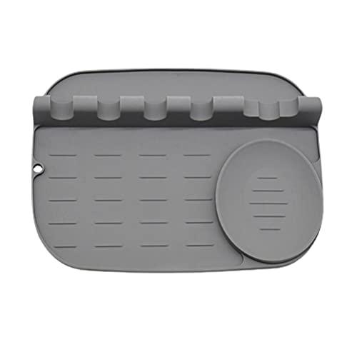 Chiyyak Soporte para cucharas de silicona, antideslizante, soporte para cucharas, soporte para espátula, soporte para utensilios, con almohadilla antigoteo y agujero para colgar brochas