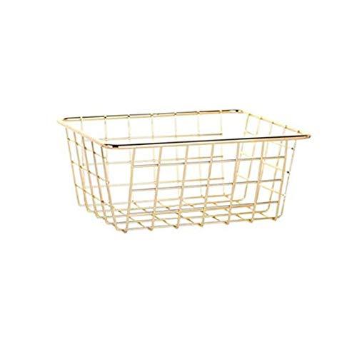 GUOXIANG Cesta multiusos de alambre de metal, extragrande, cesta de almacenamiento universal de metal, cesta de alambre de metal, para armarios, congeladores, dormitorios, baños, color dorado