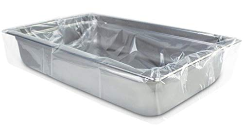 APQ Pack of 2000 Steam Table Pan Liners on Roll with Twist Tie 24 x 17. High Density Pan Liners 24x17. Thickness 0.50 mil. Polyethylene Bun Pan Covers for Caterers, Cafeterias, Restaurants.