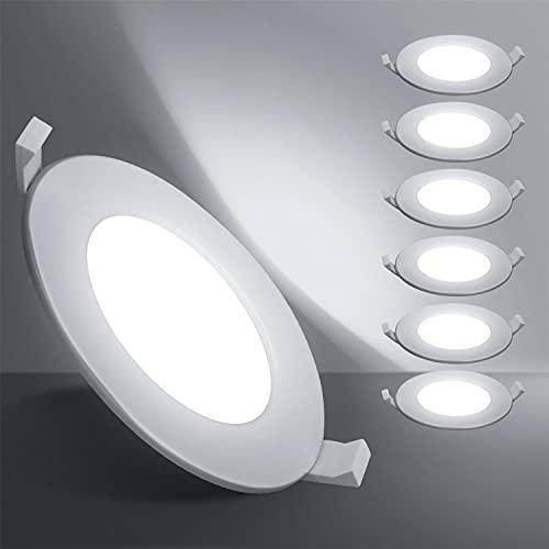 Aigostar Downlight led empotrable, 6W equivalente 35W, 6000K Luz blanca fria, Blanco, foco empotrable LED, Ojos de buey de led, Φ100-110mm, 6 pack [Clase de eficiencia energética A+]